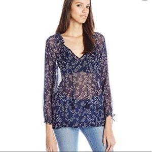 Lucky Brand Blue Tossed Flower Peasant Blouse M